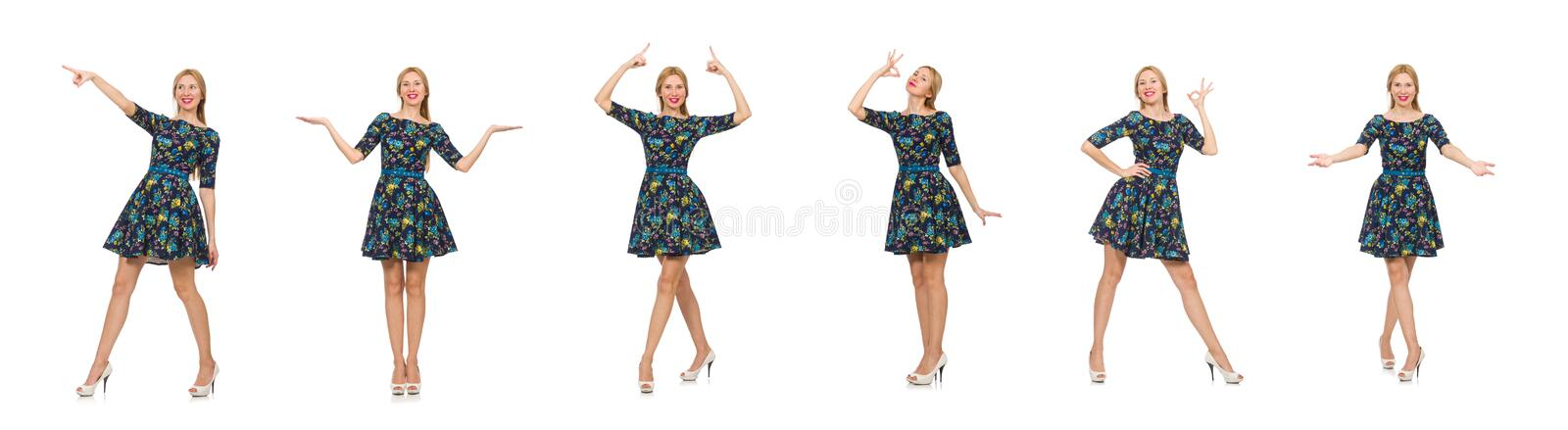 Woman in dark blue floral dress isolated on white royalty free stock images