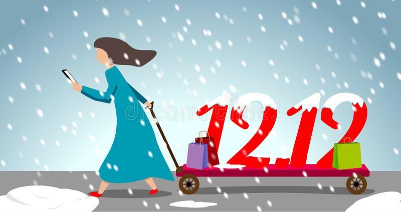 Woman in dark blue long dress pull shopping cart stock illustration