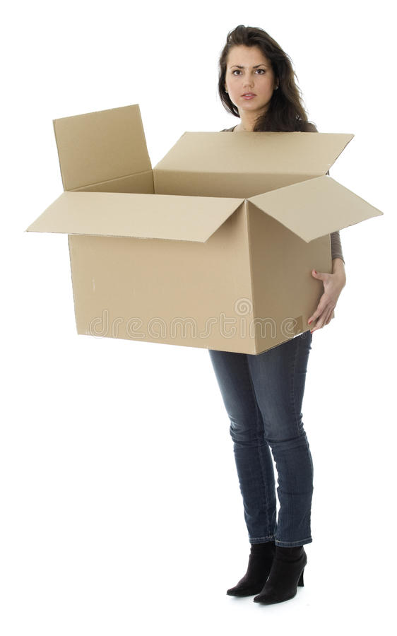 Woman From Dark Hair Keeping Cardboard Box Stock Images