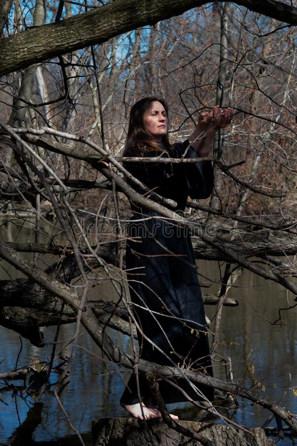 Woman with dark long hair in black robes standing on a tree stump in the middle of a swamp. Halloween and Gothic concept. royalty free stock photos