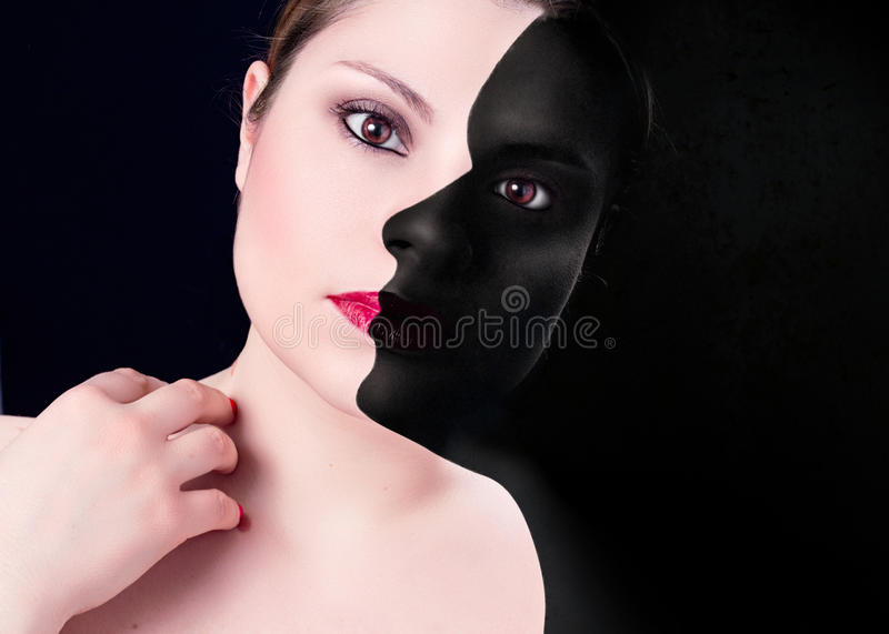 Woman with dark profile royalty free stock images