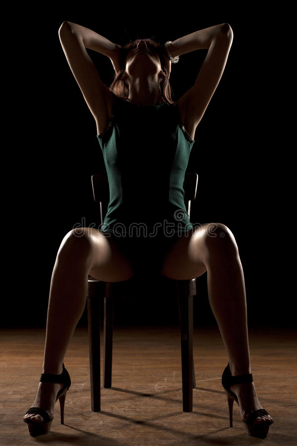 Woman in the dark royalty free stock photography