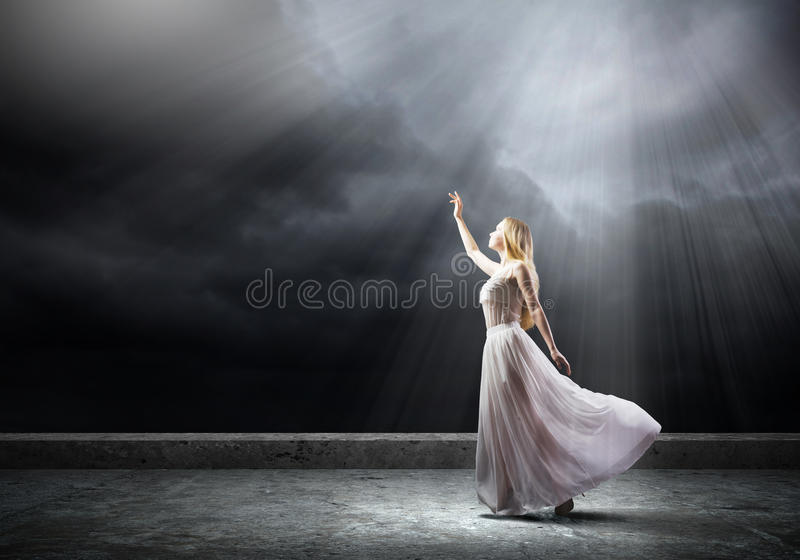 Woman in darkness royalty free stock photos