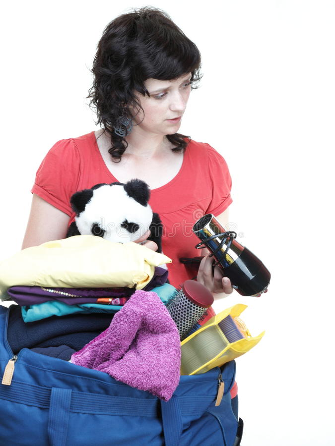 Download Woman And Daughter Hand Crammed Full Of Clothes And Shoulder Bag Stock Image - Image: 31420381