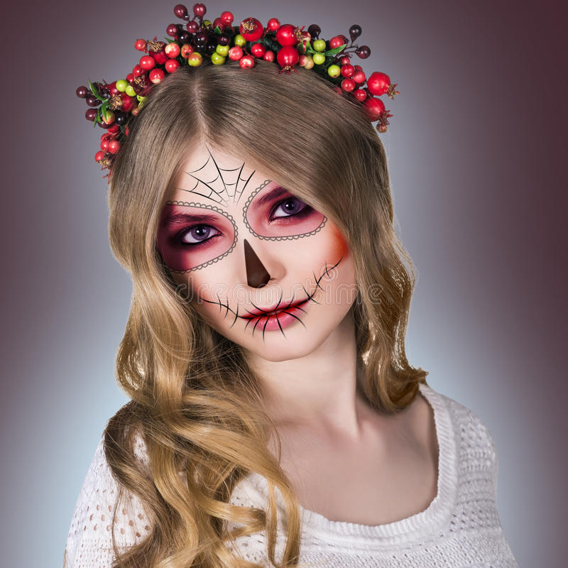 Woman in day of the dead mask stock photos