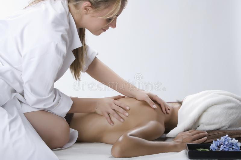Woman in a day spa stock photos