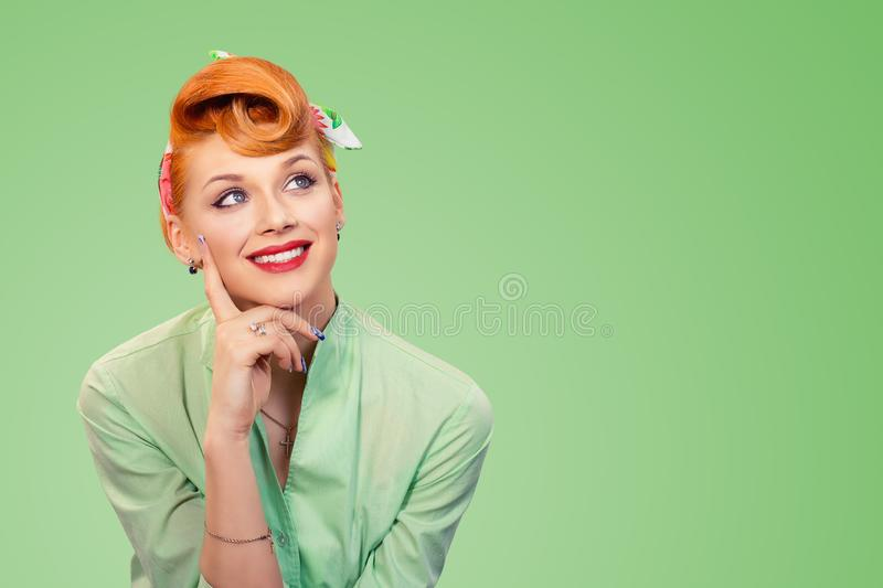 Woman daydreaming, thinking royalty free stock photo