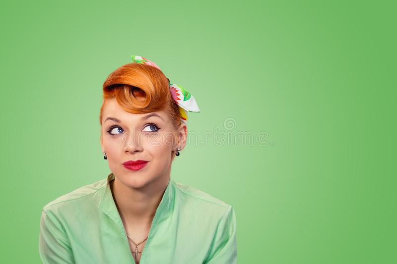Woman daydreaming, thinking royalty free stock images