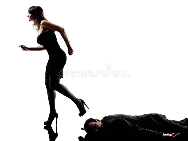 Woman dead body criminal investigations royalty free stock photos
