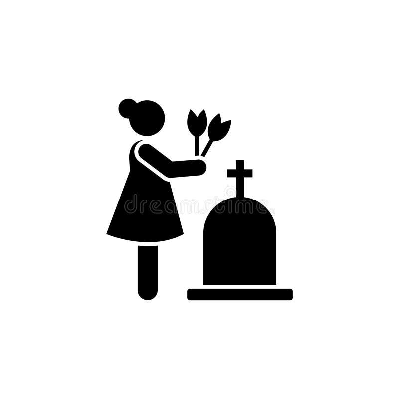Woman dead funeral sorrow flower icon. Element of pictogram death illustration.  stock illustration