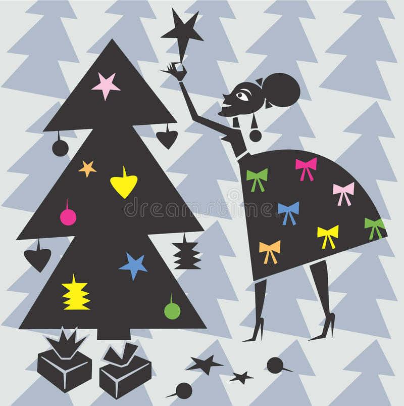 Woman decorates Xmas tree royalty free stock images