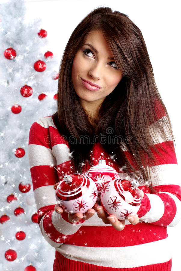 Download Woman Decorating White Christmas Tree Stock Photo - Image: 11557902