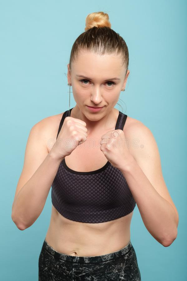 Woman defence boxing self protection fighter royalty free stock photo