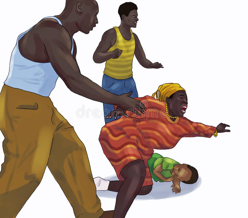 Woman defending a child. An illustration of a woman defending a child royalty free illustration
