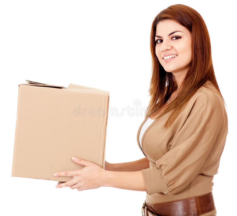 Download Woman delivering a package stock image. Image of background - 24772389