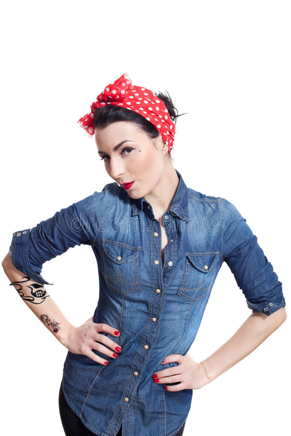 Download Woman in denim shirt stock photo. Image of woman, looking - 27909484