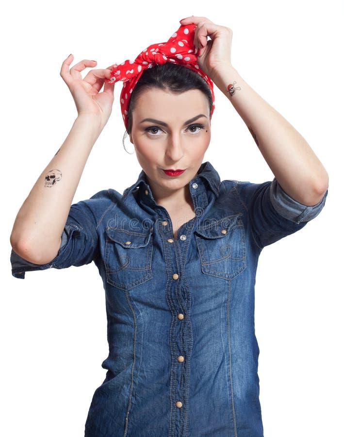Download Woman in denim shirt stock image. Image of make, kerchief - 27909521