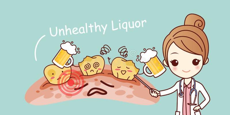 Woman dentist with liquor. Cartoon woman dentist with liquor and yellow teeth vector illustration