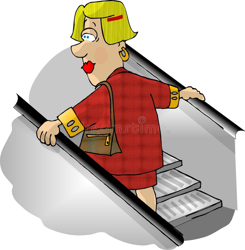 Woman on a department store escalator vector illustration