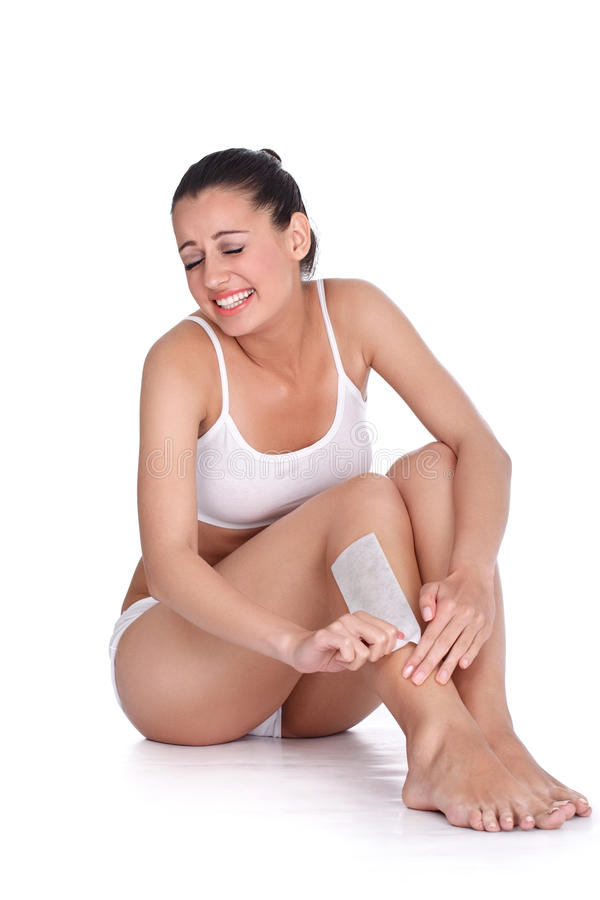Woman Depilate For Legs With Waxing Stock Photo