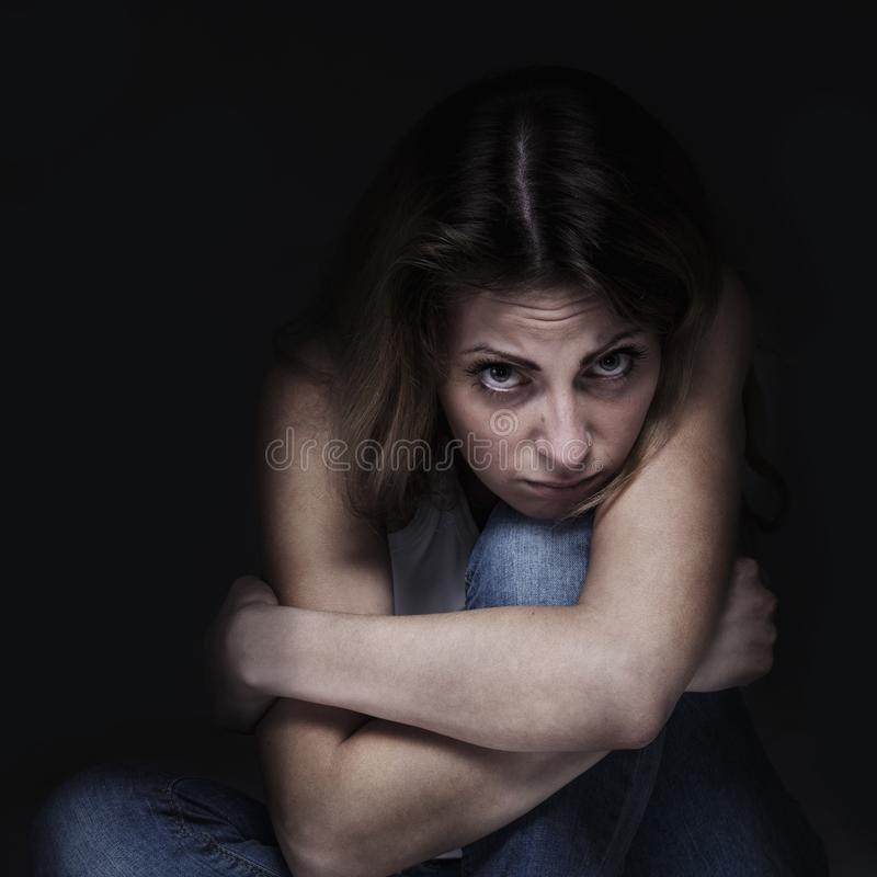 Woman in depression alone with problems difficulties, psycholo royalty free stock images