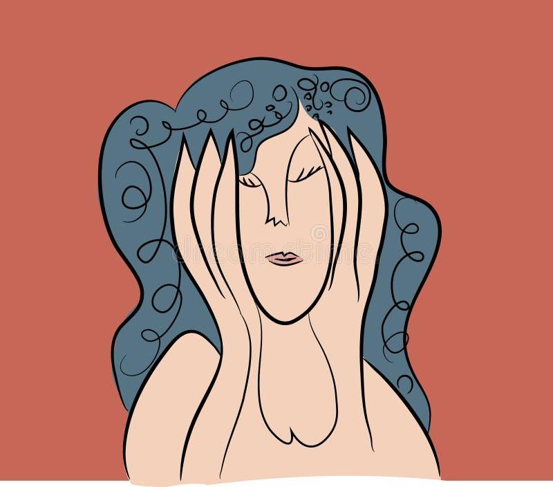 Woman in depression stock illustration