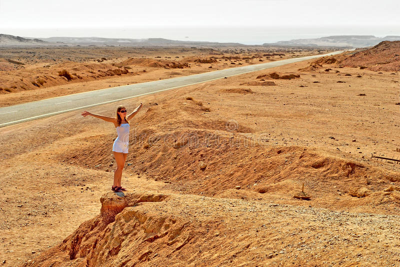 Download Woman in the desert stock photo. Image of outdoors, enjoyment - 12502484