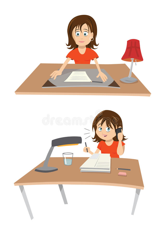 Woman At Desk stock illustration