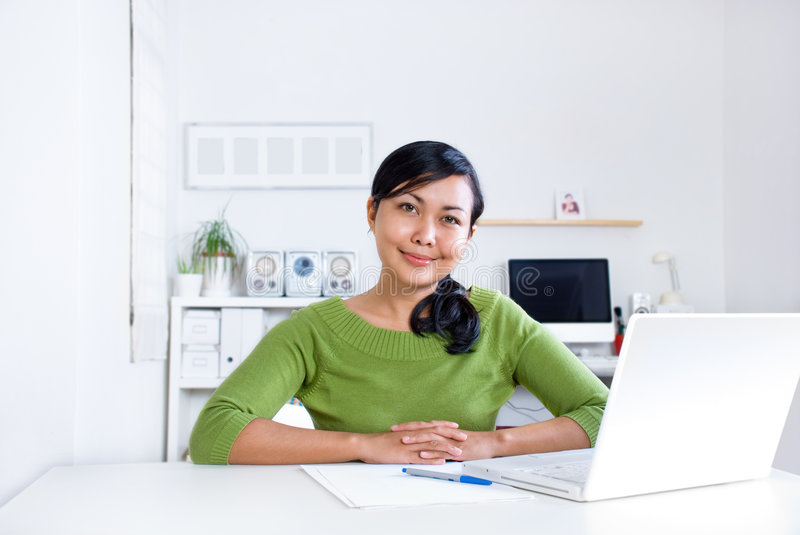 Download Woman at the desk stock image. Image of interior, internet - 3817343