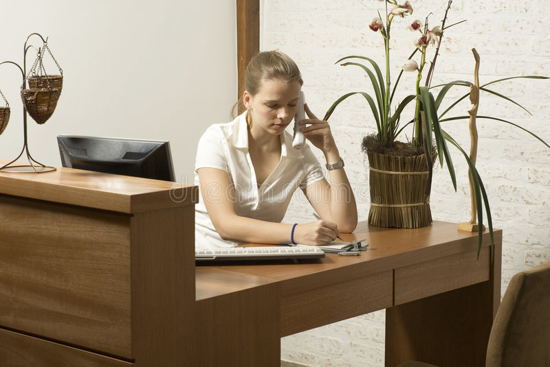 Woman At Desk Stock Photo
