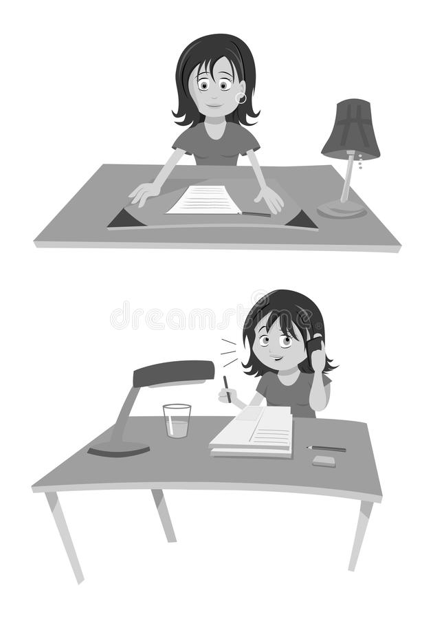 Woman At Desk grayscale vector illustration