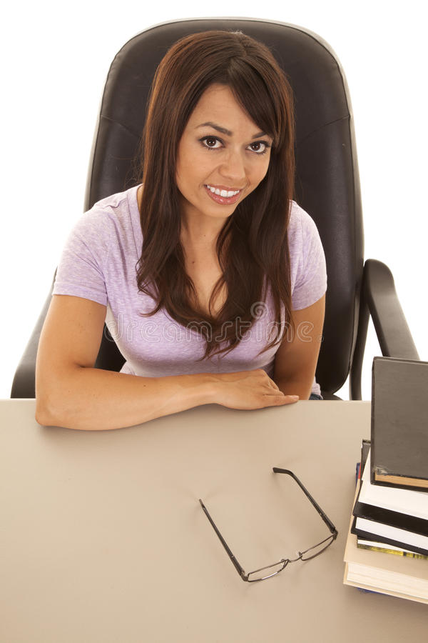 Download Woman At A Desk With A Stack Of Books Top Angle Stock Image - Image: 32686973