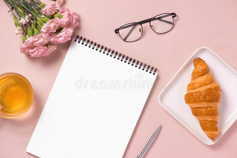 Woman desktop elegant. Flat lay. Mock up for artwork stock photography