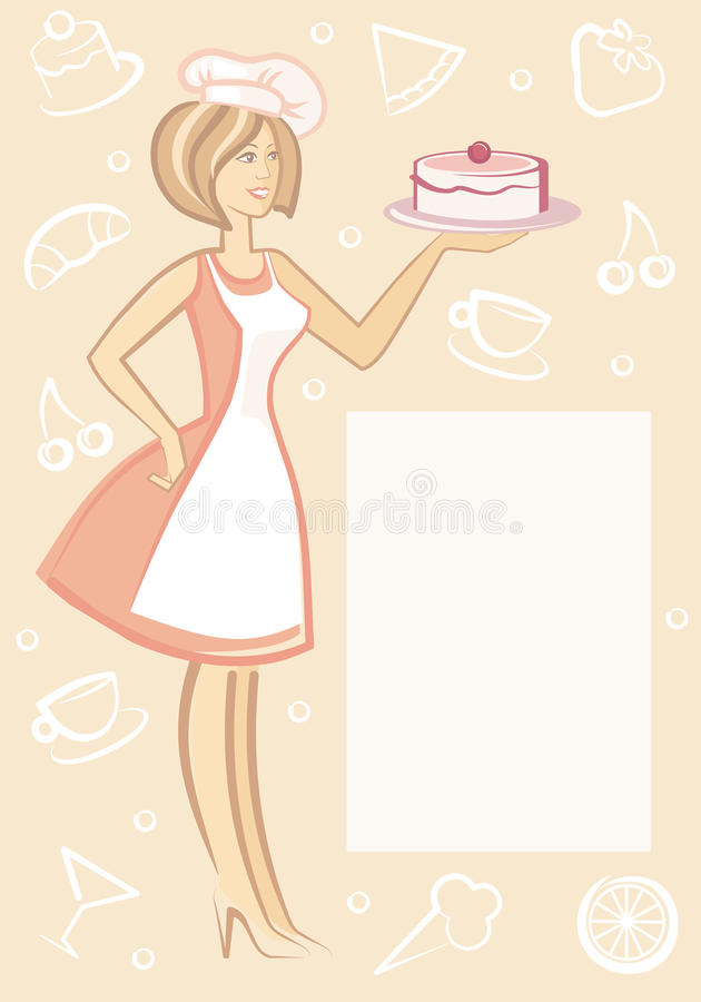 Download The Woman With Dessert On Plate Stock Vector - Image: 12054620