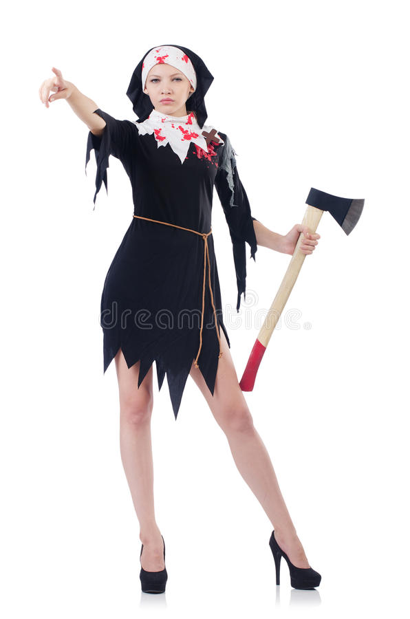 Woman Devil With Axe Stock Photo