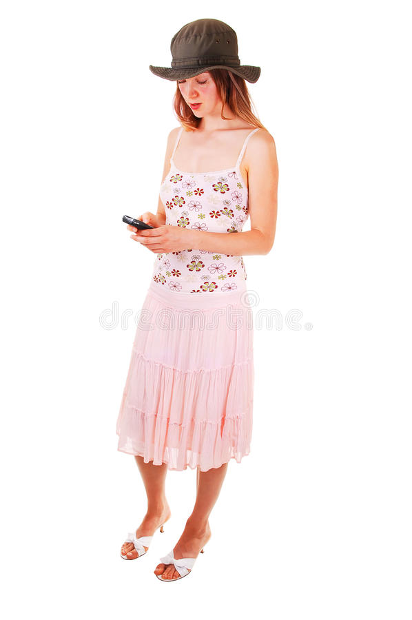 Woman dialing on the phone stock image