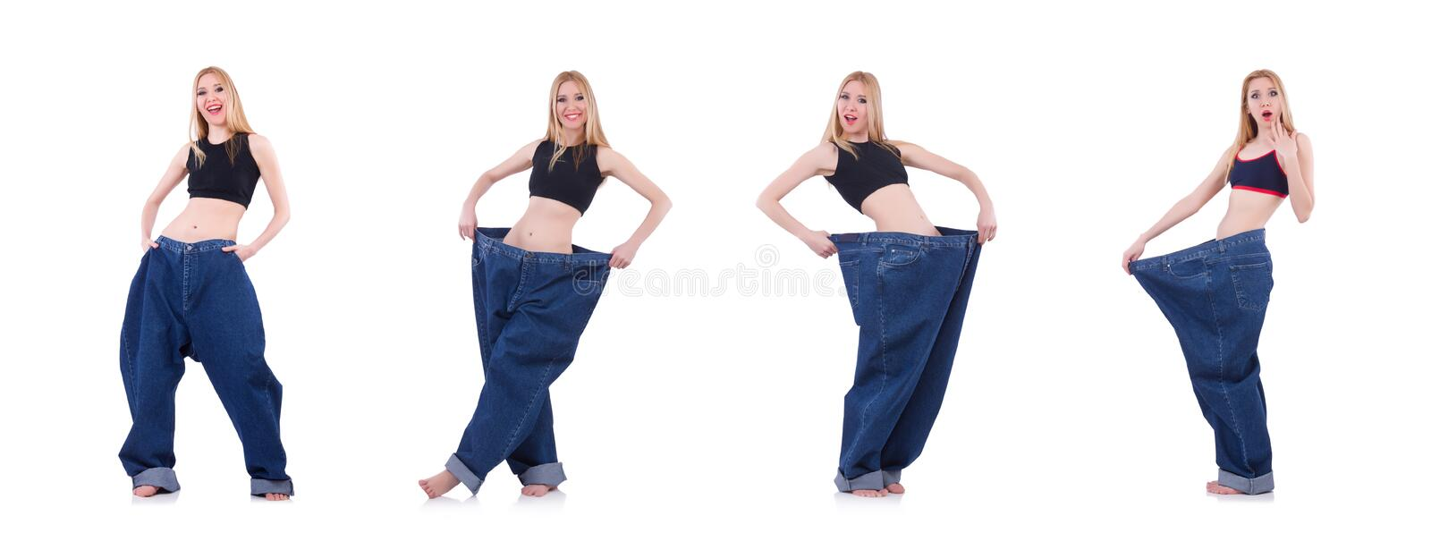 Woman in dieting concept with big jeans stock image