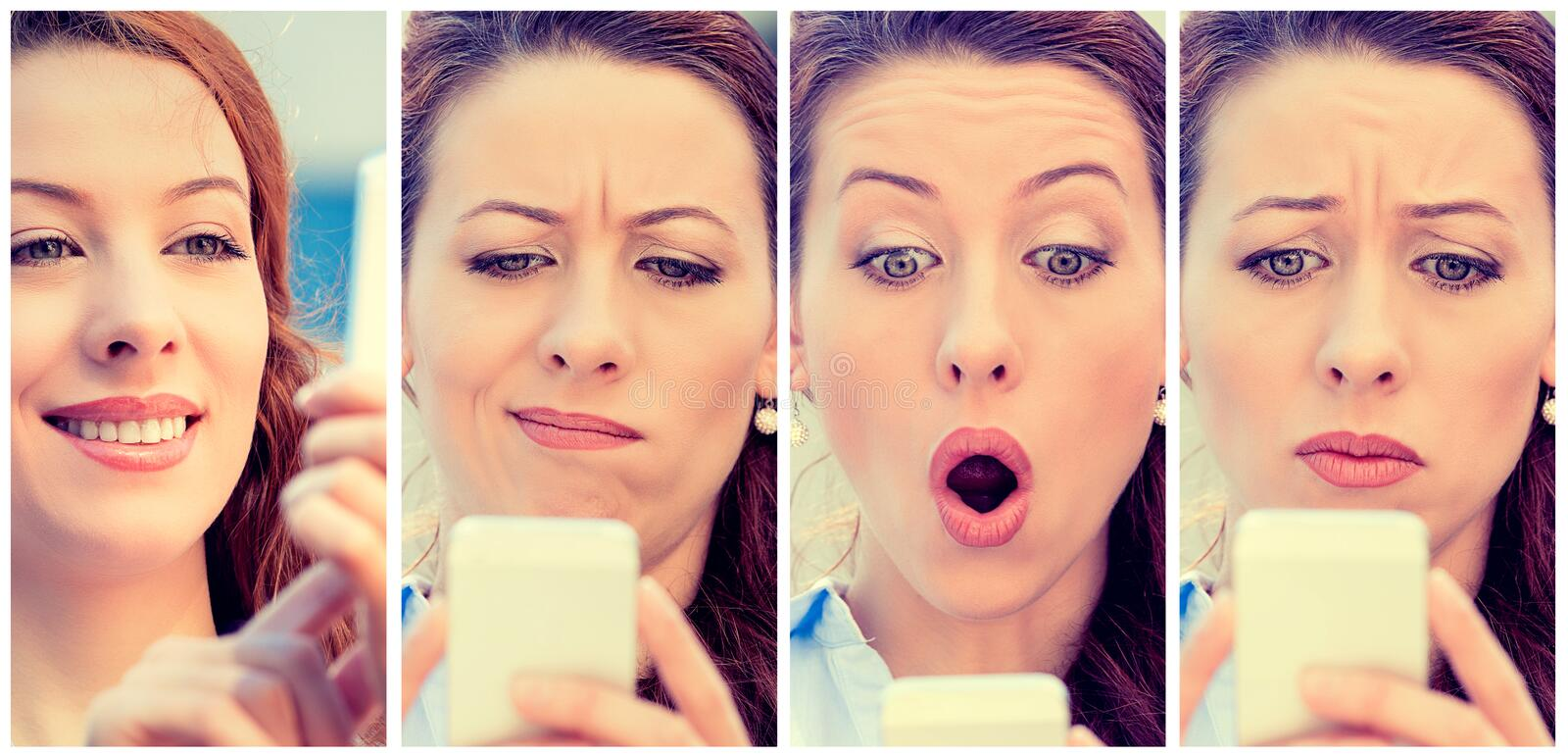 Woman with different expressions texting on smart phone royalty free stock photography