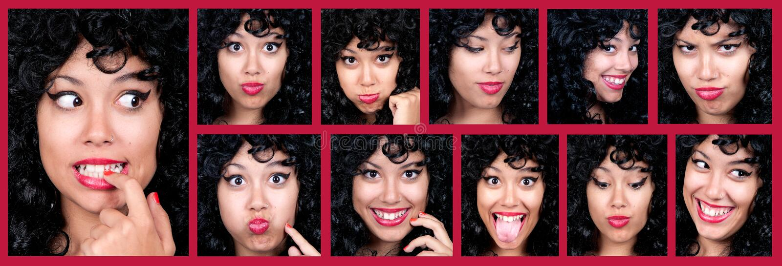 Woman different facial expressions. Collage of woman different facial expressions stock photography