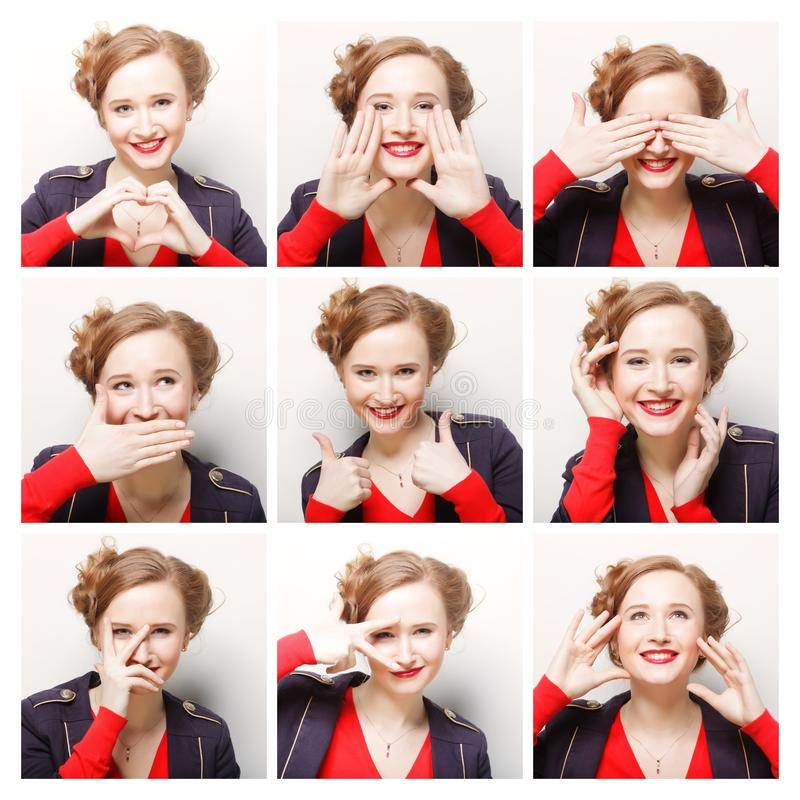 Woman different facial expressions. Collage of woman different facial expressions stock photos