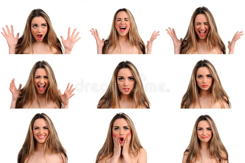 woman with different facial expressions royalty free stock images