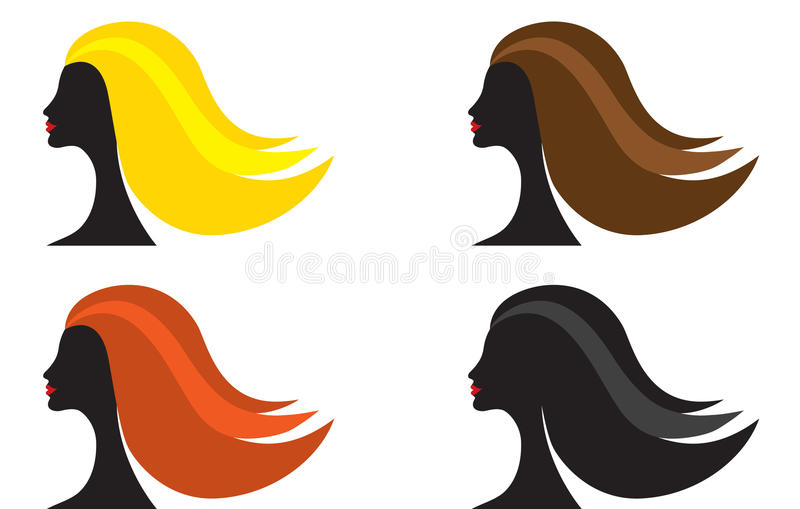 Woman With Different Hair Color Stock Photo