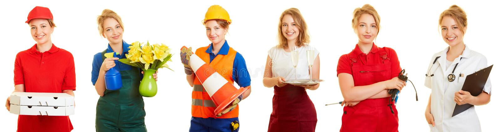 Woman in different professions as a side job stock photo