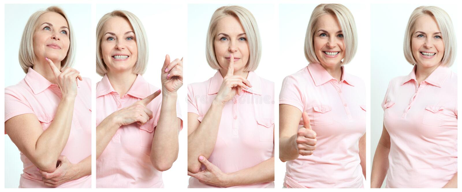 Woman in different situations collage. Beautiful middle-aged businesswomen in joy, serious, showing, surprised royalty free stock images