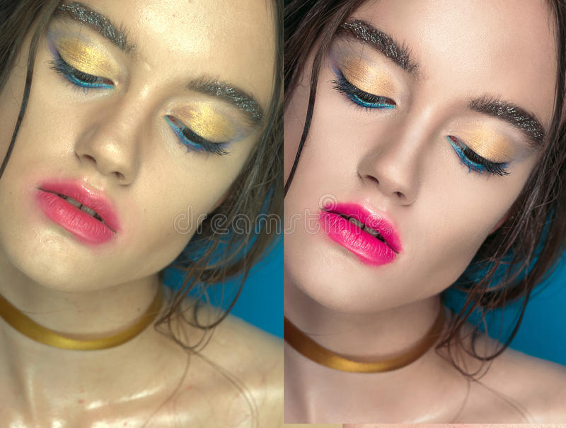 Woman before and after digital makeup and retouching makeover on face. Transformation concept. royalty free stock photography