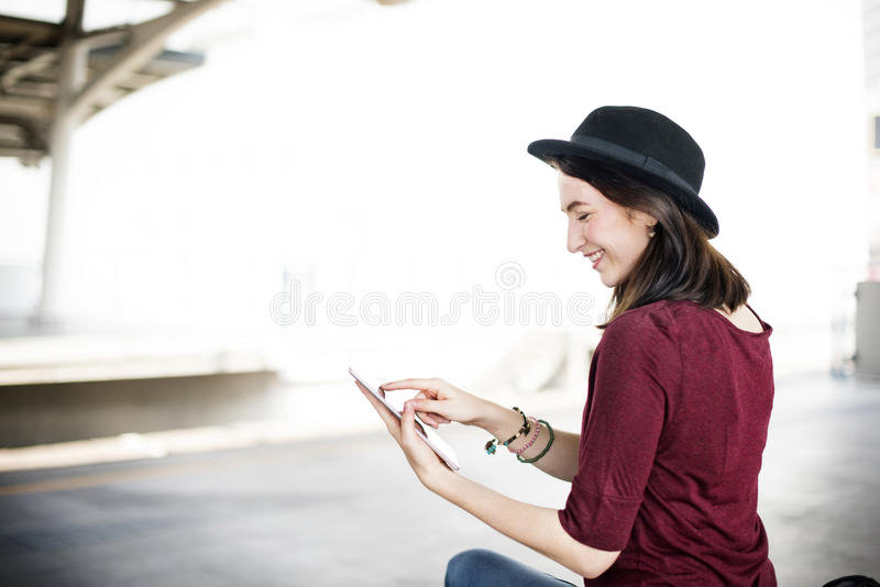 Woman Digital Tablet Trip Transportation Traveling Concept royalty free stock photos