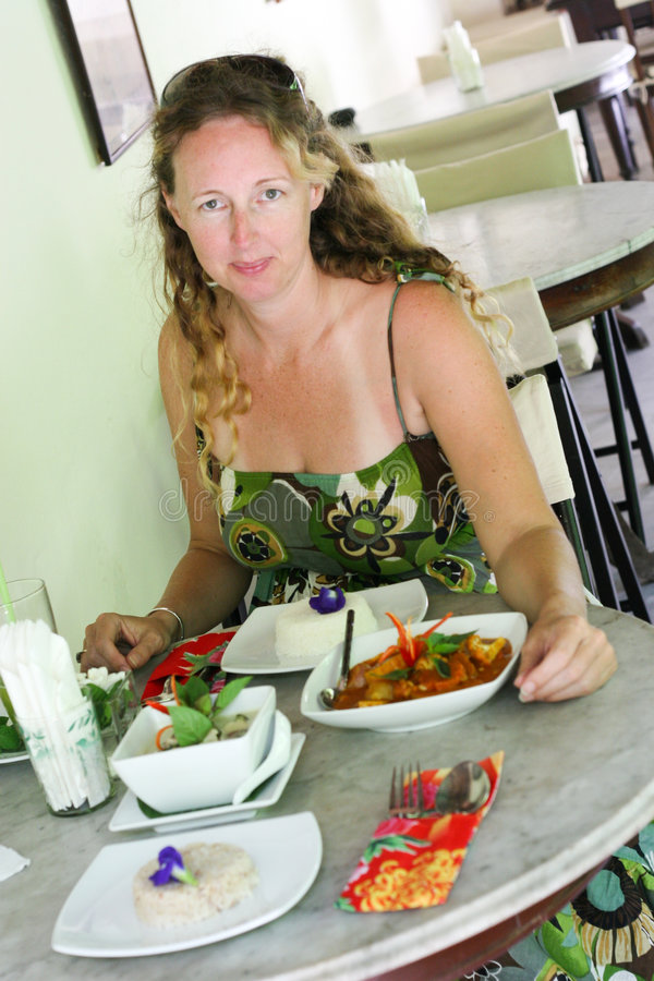 Woman Dining Royalty Free Stock Photography