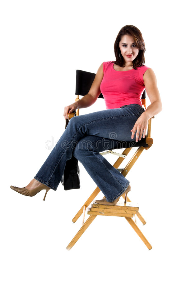Download Woman In Directors Chair stock photo. Image of person, people - 290834