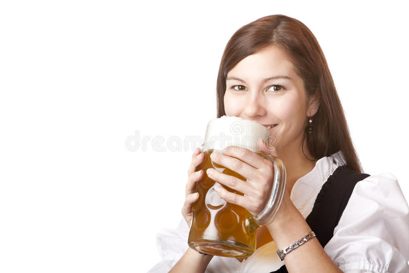 Woman In Dirndl Cloth Holds Oktoberfest Beer Stein Stock Photo