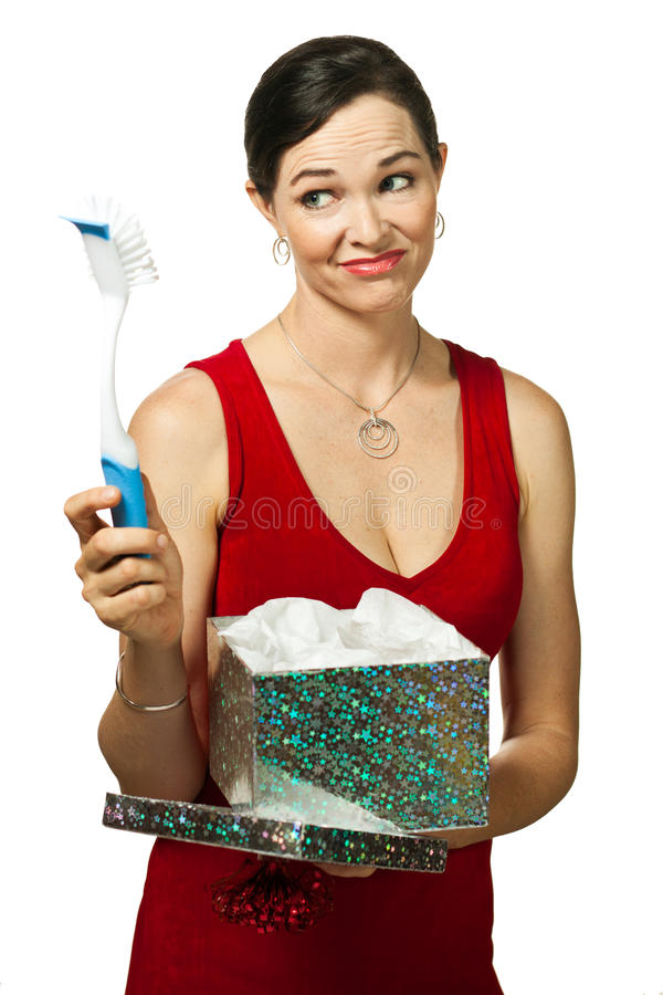 Woman disappointed with gift stock image